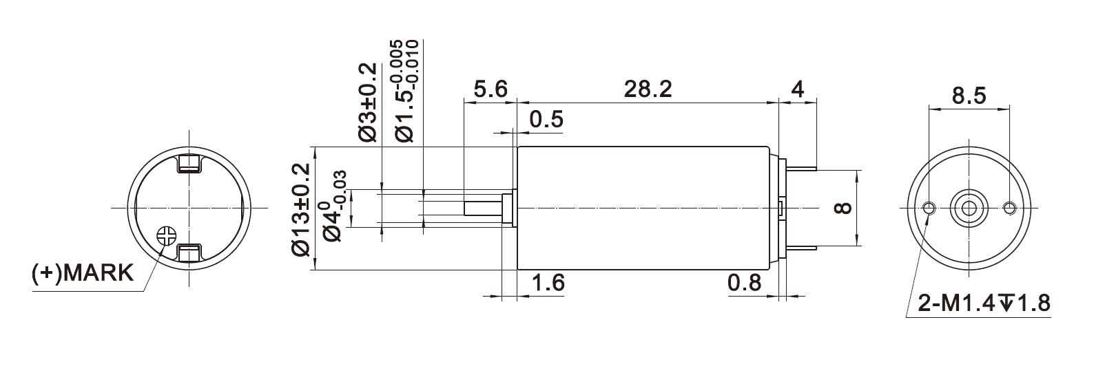 Dimension of DCU13028 Coreless Brushed DC Motors