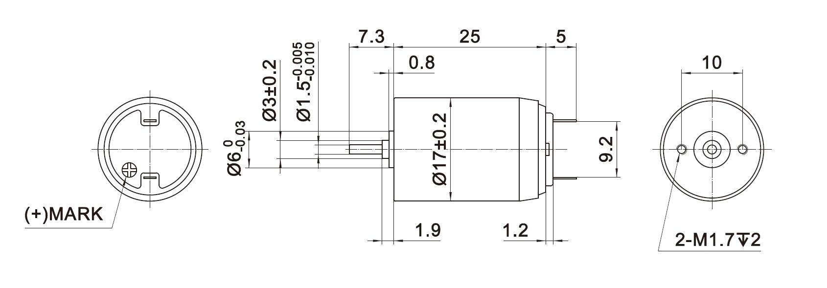 Dimension of DCU17025 Coreless Brushed DC Motors