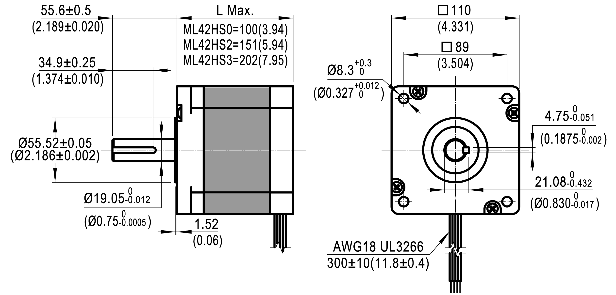 Dimensions of NEMA 42 Standard Hybrid Stepper Motors