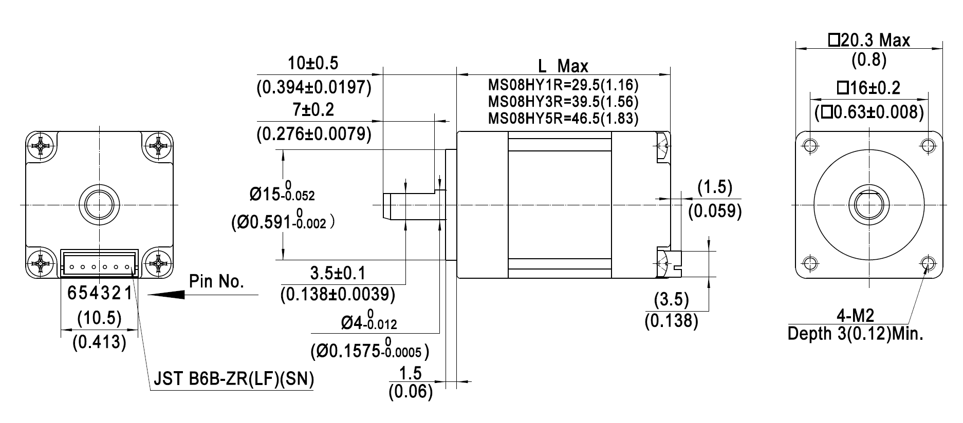 Nema 8 Mini Stepper Motors 20x20mm 2 Phase Moons Wiring Schematic For The Plugs Of Four Major Servo Manufacturers Mating Connector With Leadsorder Separately Dimensions Mmin