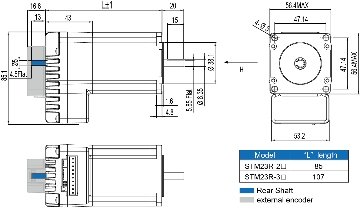 Dimensions of STM23R Series Integrated Stepper Motors
