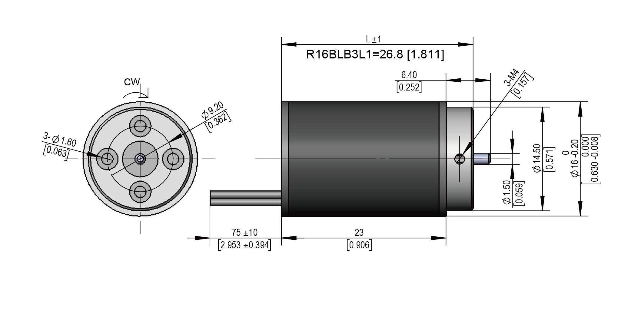 Dimension of R16 Series Brushless DC Motors