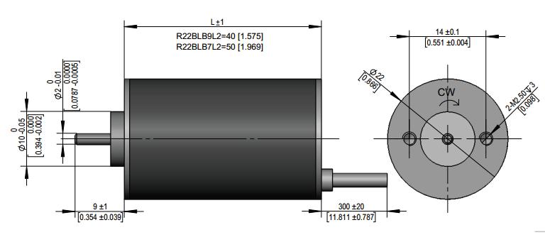 Dimension of R22 Series Brushless DC Motors