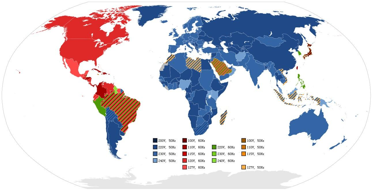 National electrical voltage in the world
