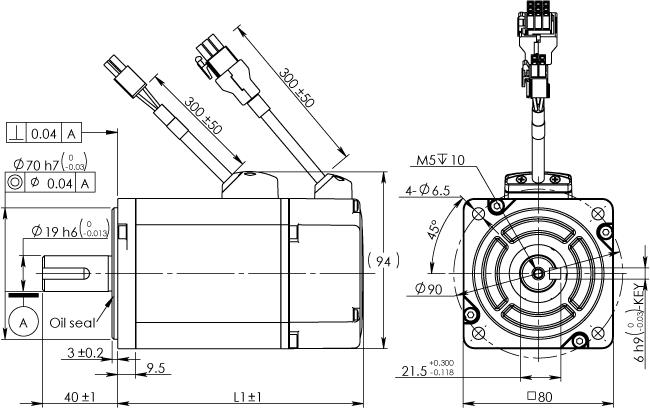 Frame 80mm Low Inertia Motor Without Brake