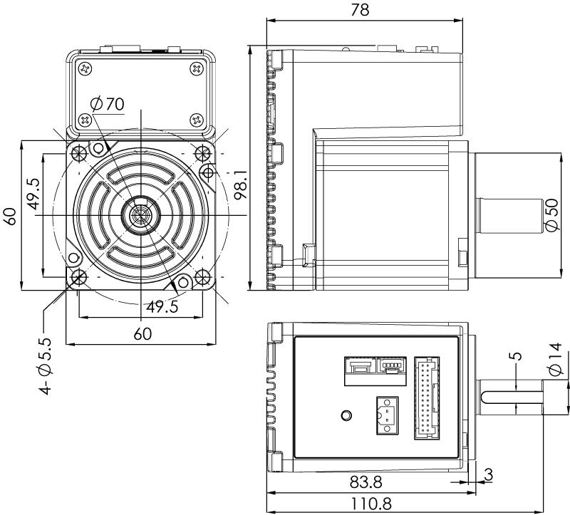Dimension of MDXK61GN3 □ A000/MDXK61GNM □ A000 Slim Heat Sink — IP20 Type