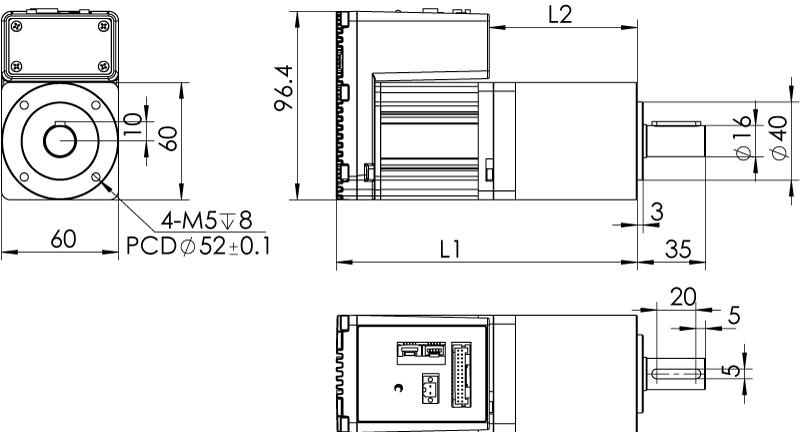 Dimension of MDXK61GN3 □ AP □□/MDXK61GNM □ AP □□ Slim Heat Sink — IP20 Type