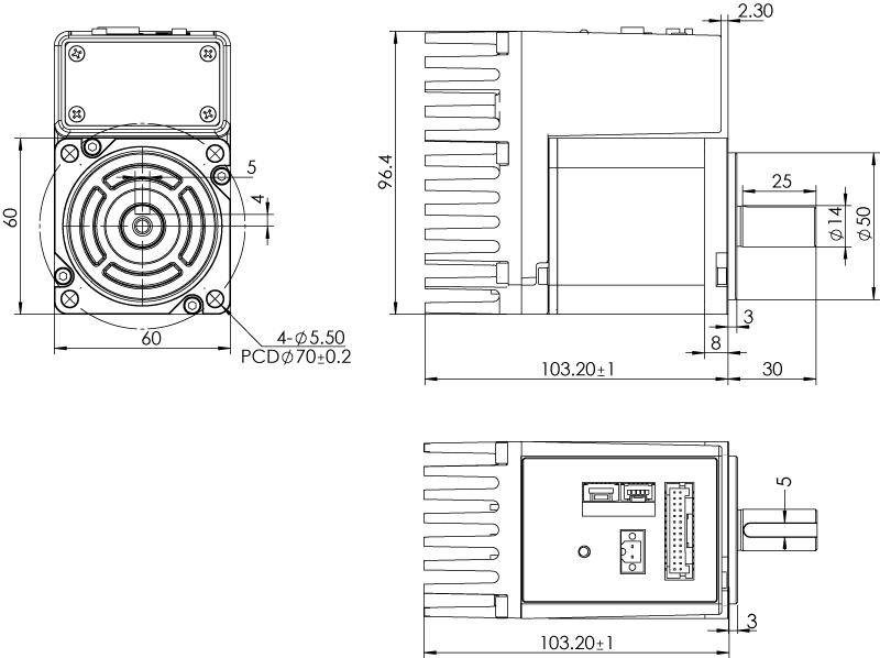 Dimension of MDXK61GN3 □ B000 / MDXK61GNM □ B000 Standard Heat Sink — IP20 Type