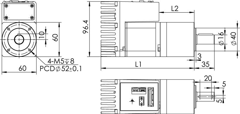 Dimension of   MDXK61GN3 □ BP □□ / MDXK61GNM □ BP □□ Standard Heat Sink — IP20 Type
