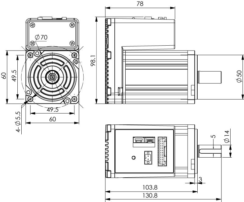 Dimension of MDXK62GN3 □ A000/MDXK62GNM □ A000 Slim Heat Sink — IP20 Type