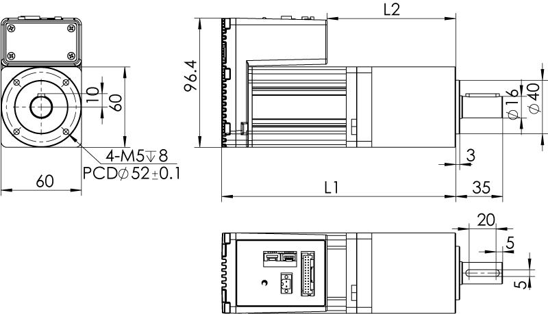 Dimension of MDXK62GN3 □ AP □□/MDXK62GNM □ AP □□ Slim Heat Sink — IP20 Type
