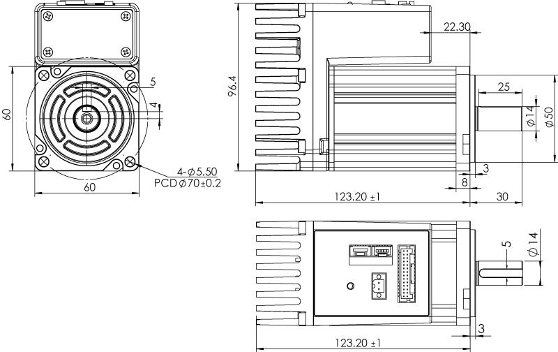 Dimension of  MDXK62GN3 □ B000 / MDXK62GNM □ B000Standard Heat Sink — IP20 Type