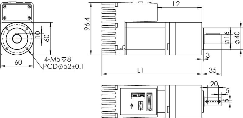 Dimension of  MDXK62GN3 □ BP □□ / MDXK62GNM □ BP □□ Standard Heat Sink — IP20 Type