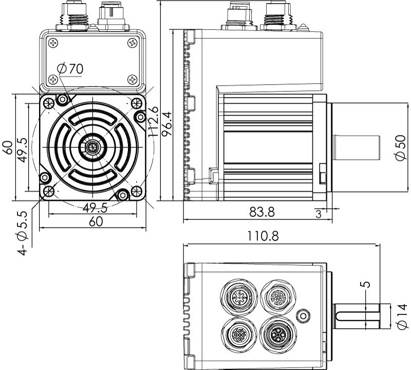 Dimension of  MDXL61GN3 □ A000 / MDXL61GNM □ A000  Slim Heat Sink — IP65 Type