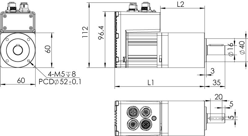 Dimension of  MDXL61GN3 □ AP □□ / MDXL61GNM □ AP □□  Slim Heat Sink — IP65 Type