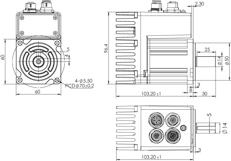 Dimension of MDXL61GN3 □ B000 / MDXL61GNM □ B000 Standard Heat Sink — IP65 Type