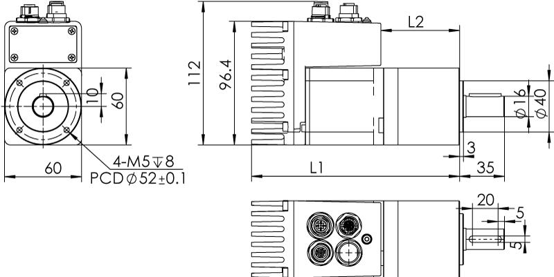 Dimension of MDXL61GN3 □ BP □□ / MDXL61GNM □ BP □□ Standard Heat Sink — IP65 Type