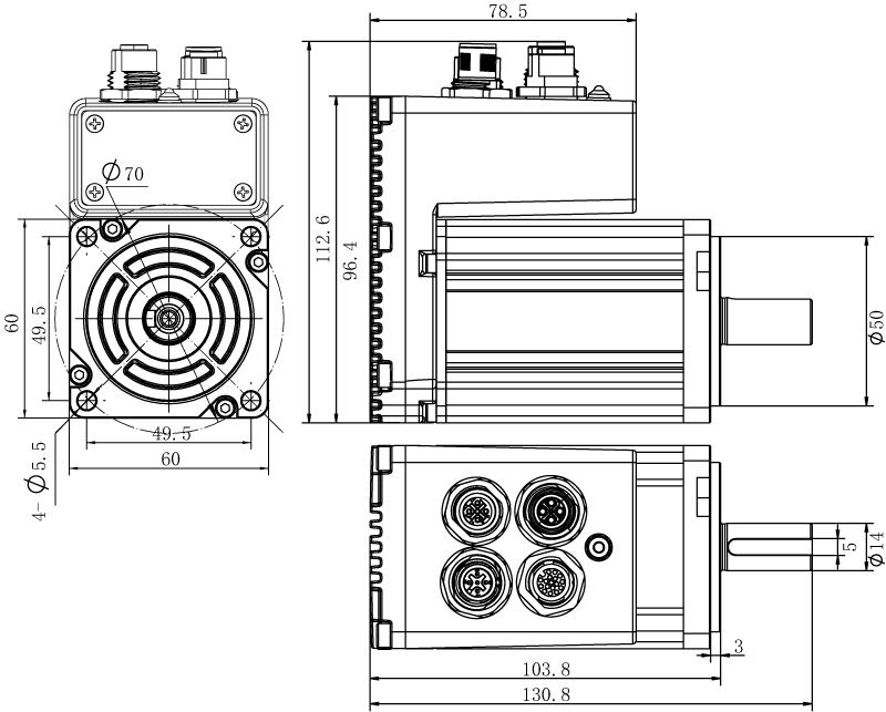 Dimension of  MDXL62GN3 □ A000 / MDXL62GNM □ A000  Slim Heat Sink — IP65 Type
