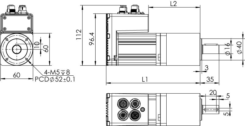 Dimension of  MDXL62GN3 □ AP □□ / MDXL62GNM □ AP □□ Slim Heat Sink — IP65 Type
