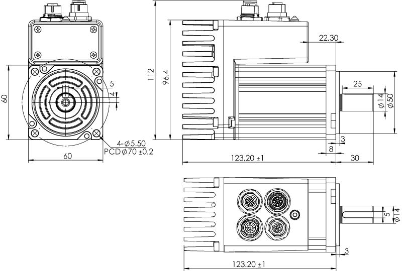 Dimension of MDXL62GN3 □ B000 / MDXL62GNM □ B000 Standard Heat Sink — IP65 Type