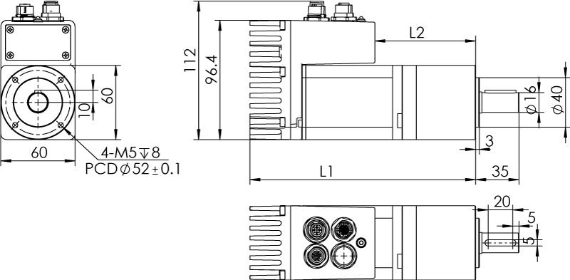 Dimension of MDXL62GN3 □ BP □□ /  MDXL62GNM □ BP □□ Standard Heat Sink — IP65 Type