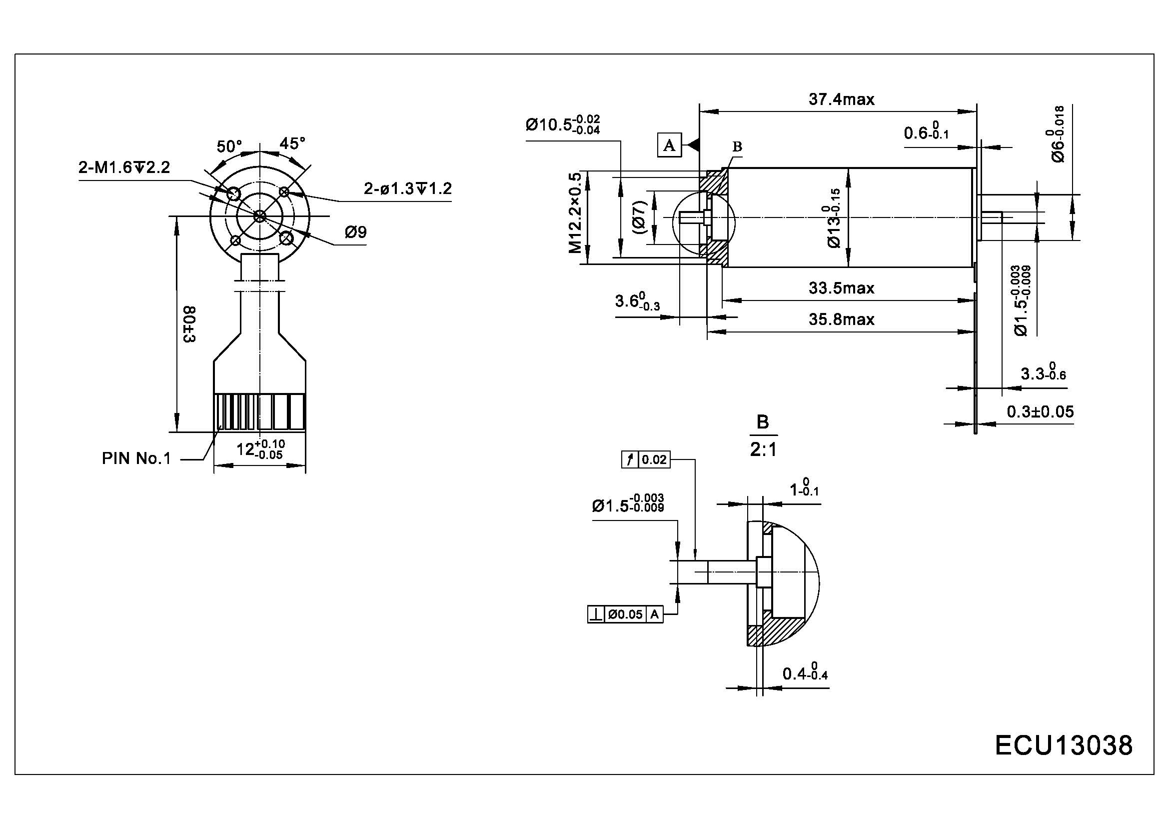 Dimension of ECU13038 Slotless BLDC Motors