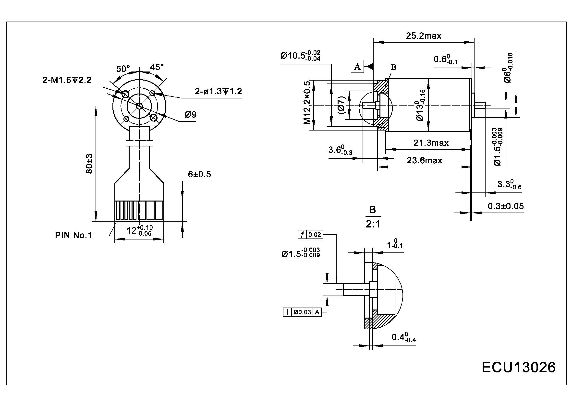 Dimension of ECU13026 Slotless BLDC Motors